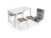 Набор складной стол влагостойкий + 4 стула,  NIKA